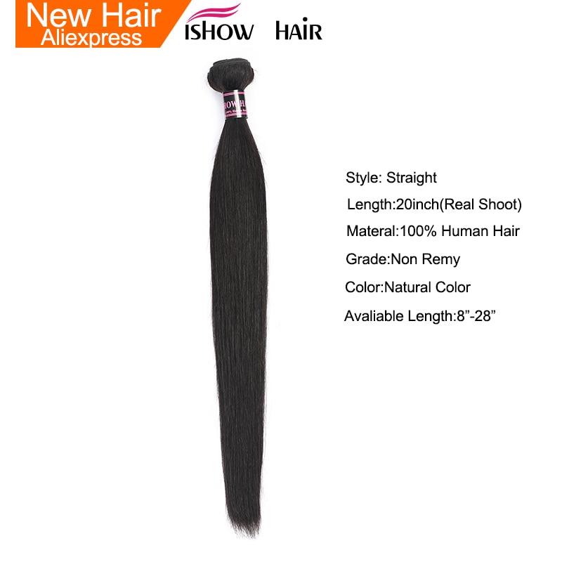 Ishow Hair Peruvian Straight Hair Weave Bundles Human Hair Extensions Double Weft Hair Bundles Non Remy 1 Piece Bundles Deal