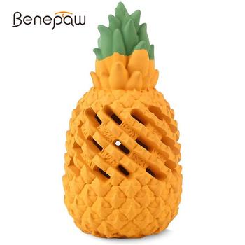 Benesaw trwałe zabawki dla psów w kształcie ananasa żuć bezpieczne zabawki dla zwierząt domowych dla dużych średnich małych psów jedzenie dla szczeniąt dozowanie ząbkowanie piłki tanie i dobre opinie CN (pochodzenie) RUBBER Chew zabawki Food Dispensing Teeht Cleaning Safe and Nontoxic Pineapple Shaped