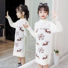 New Autumn Winter Christmas Dresses for Baby Girls Long Sweater with Deer Knit Dress Princess Knitted Year