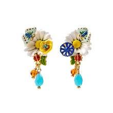 Flower-Earrings Daisy Juicy Fashion Jewelry Butterfly White Enamel Grape Glaze Hand-Painted