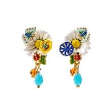 Juicy Grape 2020 new tide white daisy butterfly flower earrings hand painted enamel glaze stud earrings fashion jewelry