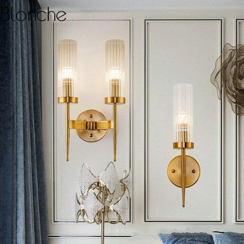 pos moderno ouro lampada de parede led espelho luz parede vidro abajur arandela para o