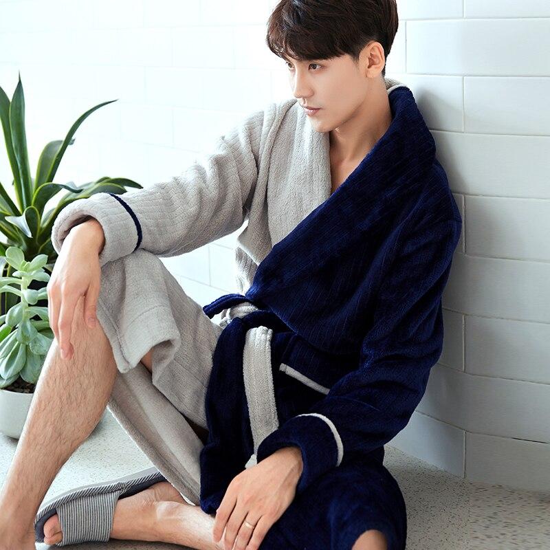 Bathrobe Dressing-Gown Velvet Winter Luxury Flannel Male New Gray Thick Long Navy Badjas