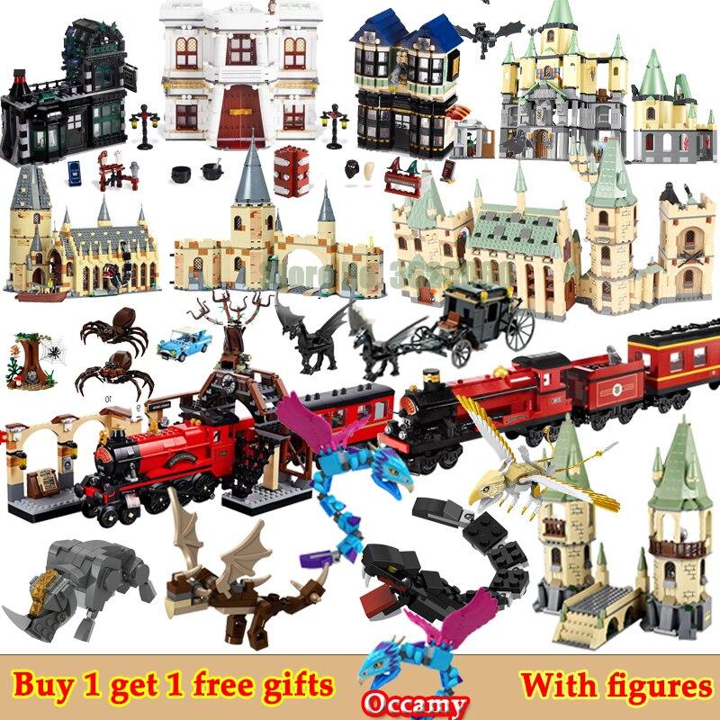 For LEGOing Harri Castle Movie House Hall Diagon Alley Hogwartse Express Potters Animals Figures Blocks For Christmas LEGOings