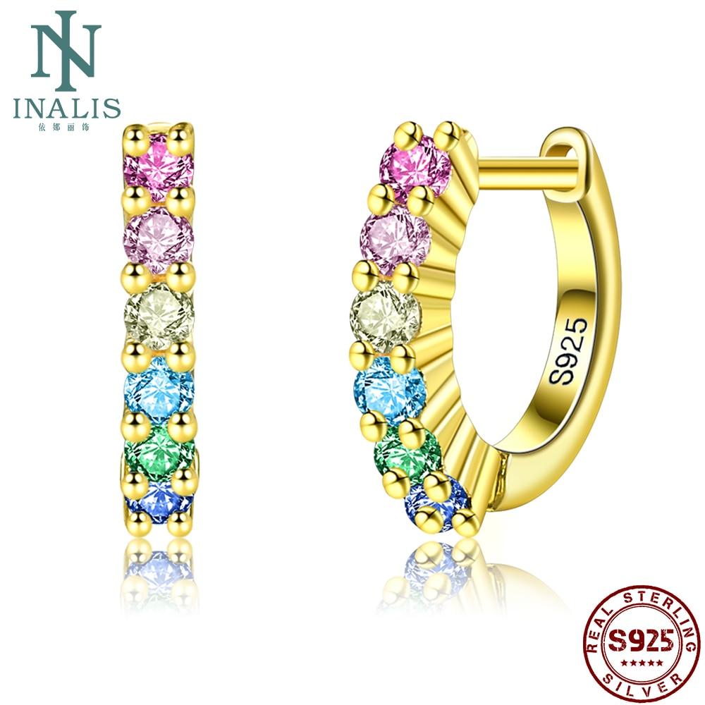 INALIS 925 Sterling Silver Earrings For Women Colorful Rainbow Color Hoop Earring Female Fine Jewelry Hot Sale Girlfriend Gift