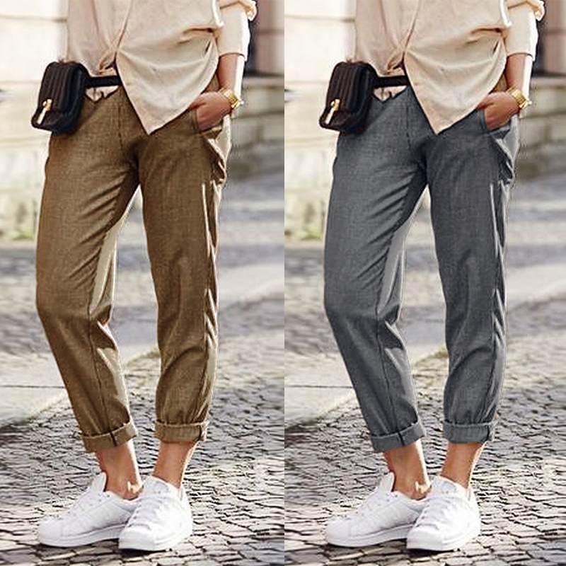 Elegant Women's Elastic Waist Trouers 2019 ZANZEA Casual Pants Female Overalls Pants Woman Pantalon Autumn Turnip Plus Size 5XL