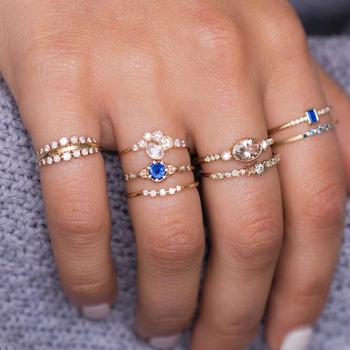 8pcs/Set Fashion Knuckle Joint Rings Set For Women Blue crystal Gold finger Ring Girls Luxury Boho Jewelry