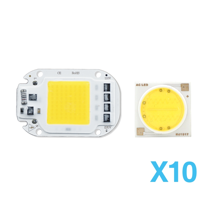10pcs LED COB Chip Light Lamp Smart IC 3W 5W 7W 9W 12W 15W 18W 20W 30W 50W 220V 230V LED Lamp IP65 LED DIY For Flood Light
