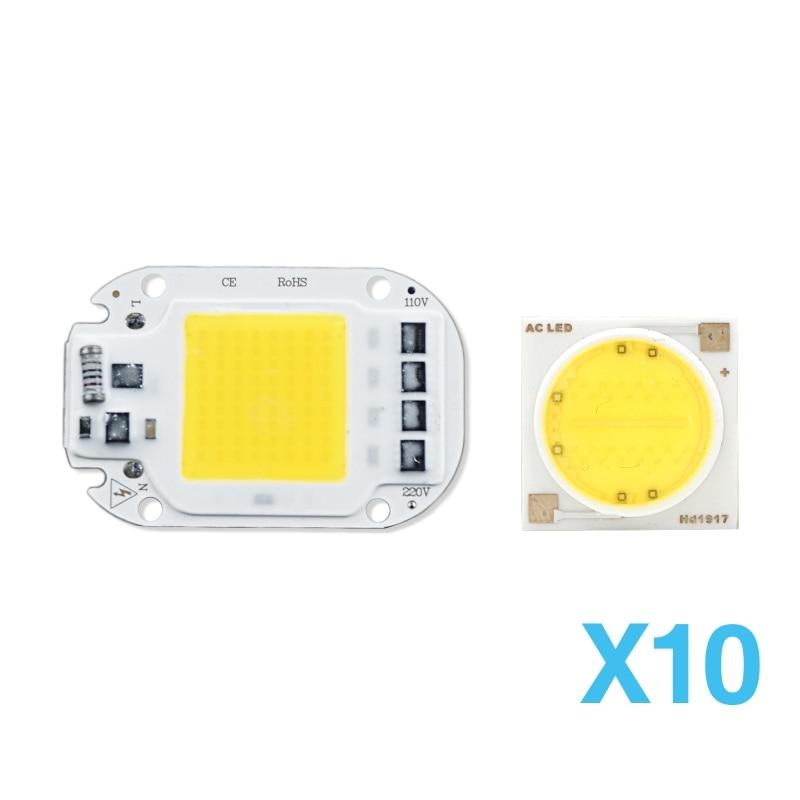 10pcs LED COB Chip Light Lamp Smart IC 3W 5W 7W 9W 12W 15W 18W 20W 30W 50W 220V 230V LED Lamp IP65 LED DIY For Flood Light