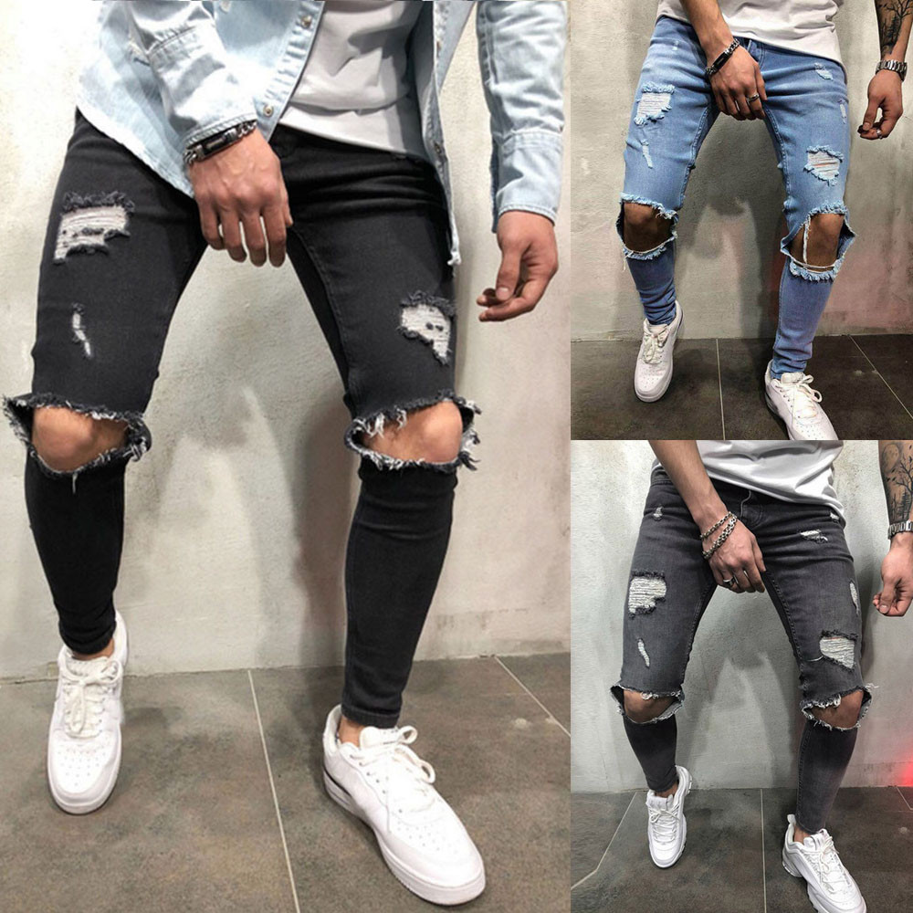 Hot Sales Mens Skinny Stretch Denim Pants Distressed Ripped Freyed Slim Fit Jeans Trousers High Quality And Comfortable 2020#G2