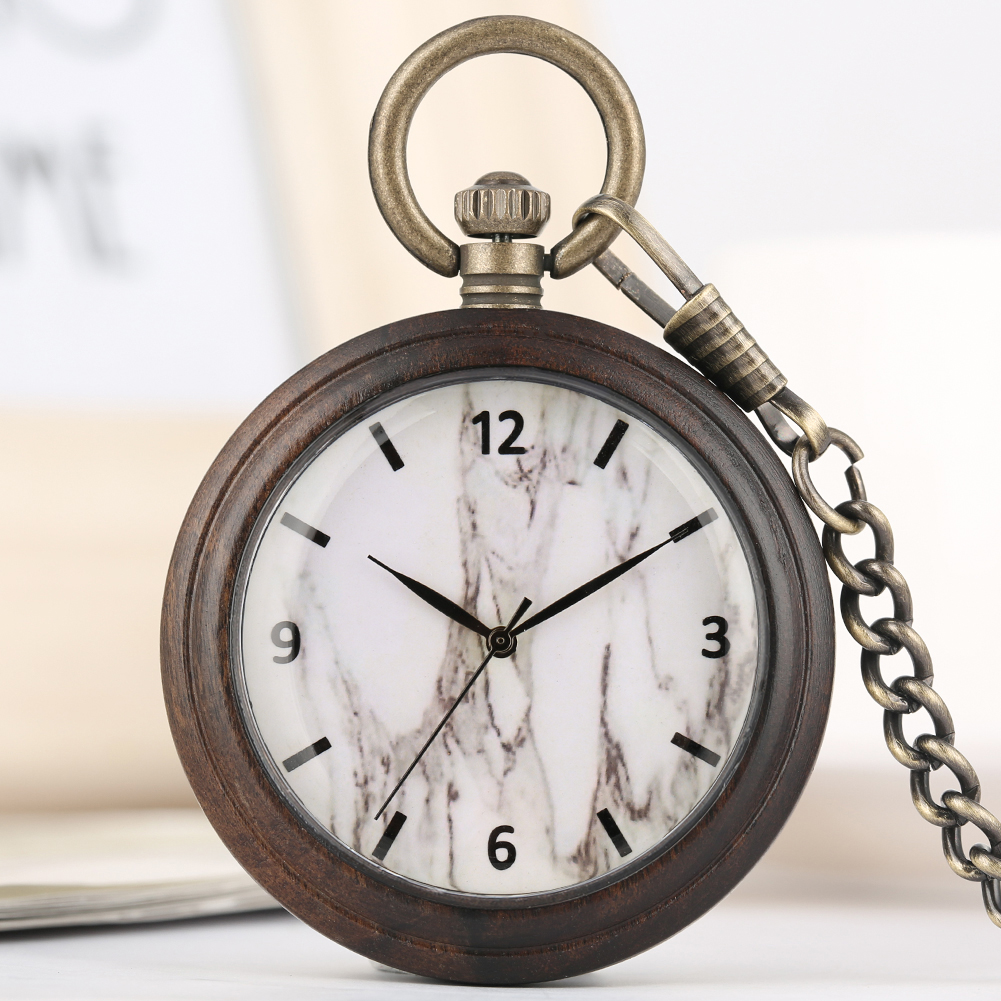 Concise White Marble Dial Wooden Pocket Watch Female Exquisite Bronze Rough Chain Clock Pendant Watches Necklace Gift Taschenuhr