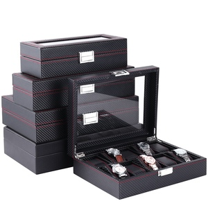 5 6 10 12 Слот/сетка коробка для часов из углеродного волокна кожа деревянный дисплей контейнер держатель для хранения дорожный Органайзер чех...