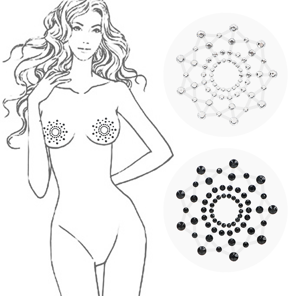 IKOKY Female Sex Products Breast Petals Chest Sticker Nipple Sticker Reusable Self Adhesive 1 Pair Nipple Cover