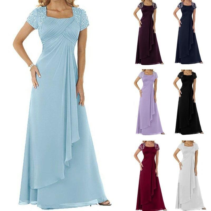 Plus Size Evening Gowns For Women Short Sleeve Square Collar Chiffon Dress Vestidos De Noche Largos Elegantes De Fiesta 2019