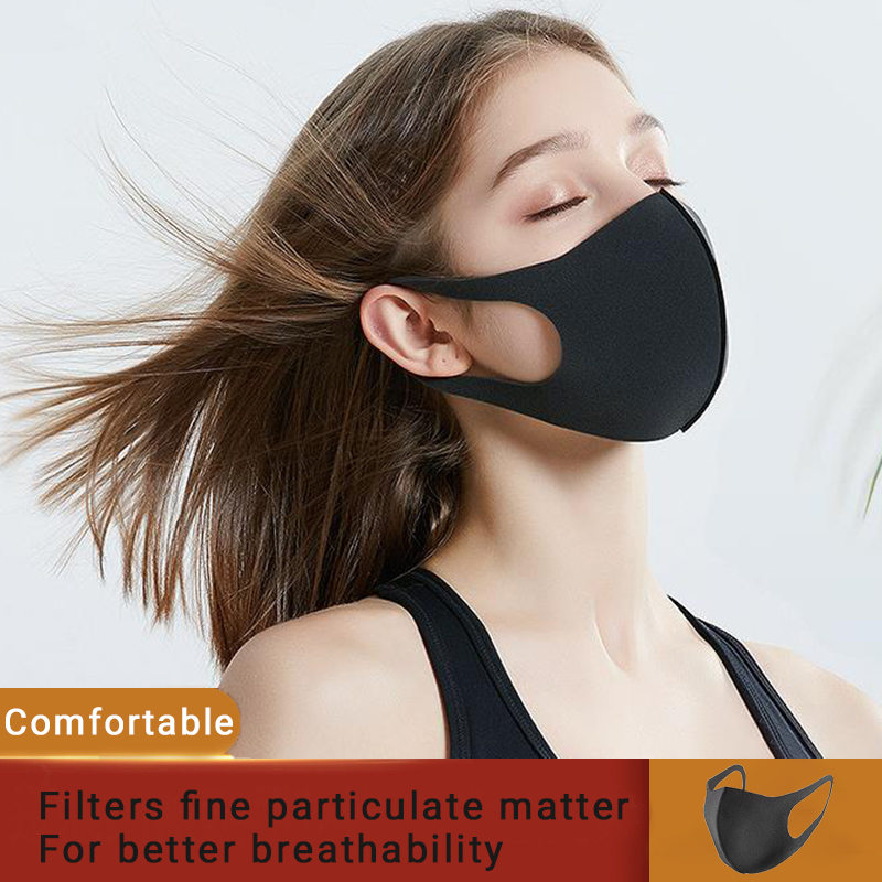 Face Mask Black Breathable Mouth Mask Fashion Unisex Reusable Anti Pollution Face Shield Wind Proof Mouth Cover Unisex