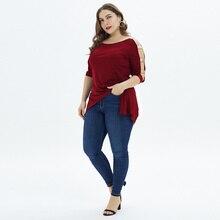 Women Fashion Summer middle sleeve T shirt Loose Sexy camiseta feminina Shirts Female Plus SizeNew Harajuku Long Style Tops