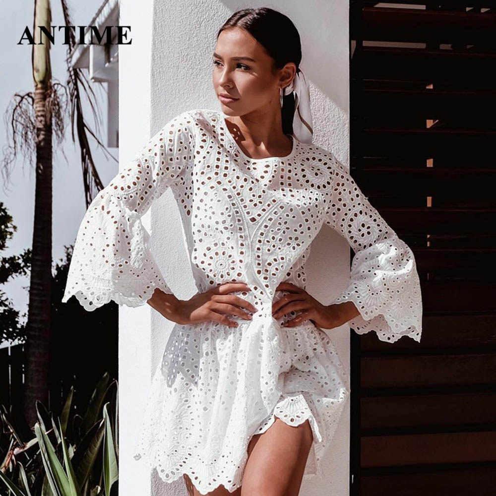 Antime Oco Out Lace Mulheres Vestidos O Pescoço Sexy Alargamento Da Luva Ruffles Branca de Malha de Algodão Verão Solto Mini Vestido Moda vestidos