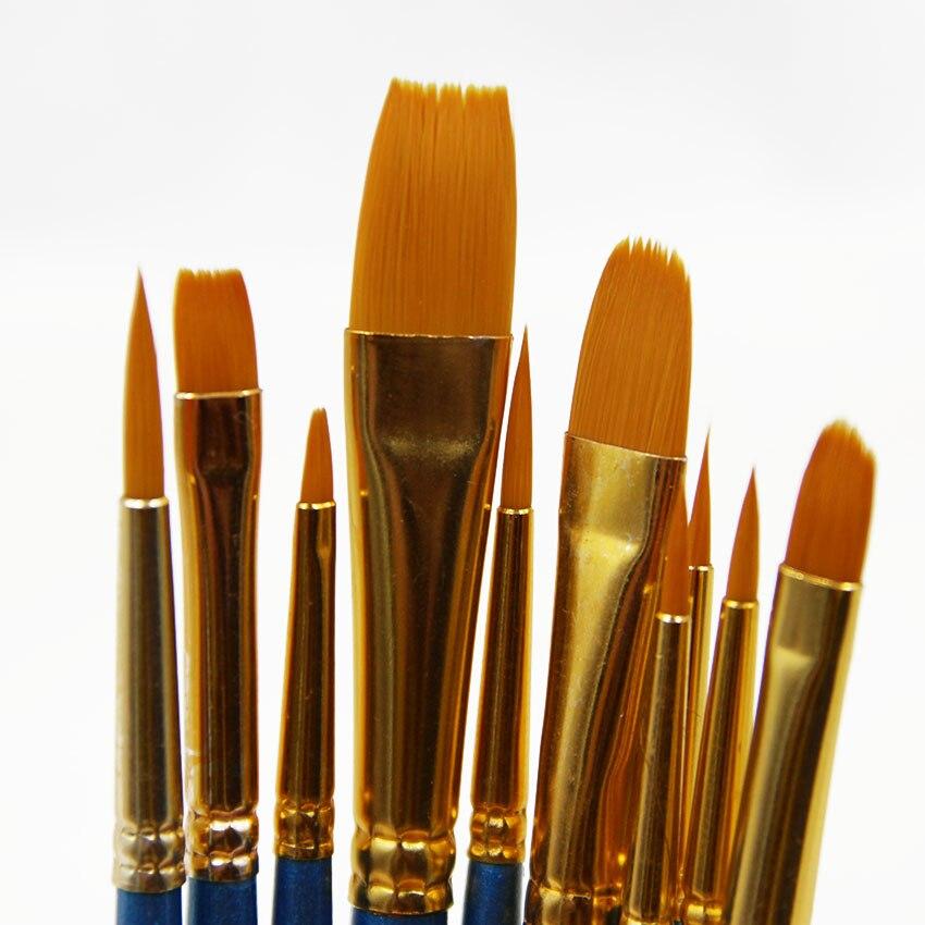 10pcs/lot High Quality Kids Watercolor Gouache Painting Pen Nylon Hair Wooden Handle Paint Brush Set Drawing Art Supplies