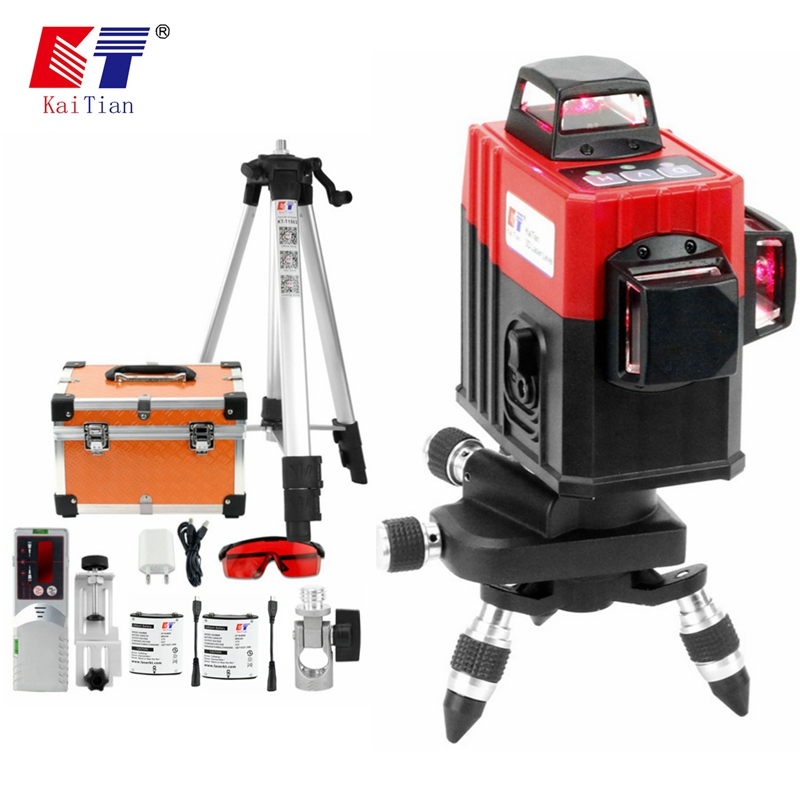 Kaitian 12 Line Laser Level Tripod&Battery Self-Leveling Profissional 360 Horizontal&Vertical Red Line 3D Livella Laser Receiver