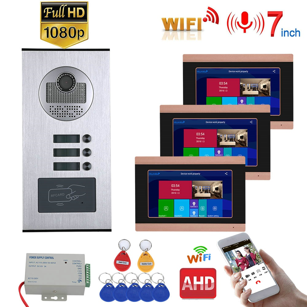 7inch Record Wired Wifi Video Intercom 3 Apartments With 3 Family RFID Doorphone System IR-CUT HD 1080P Doorbell Camera