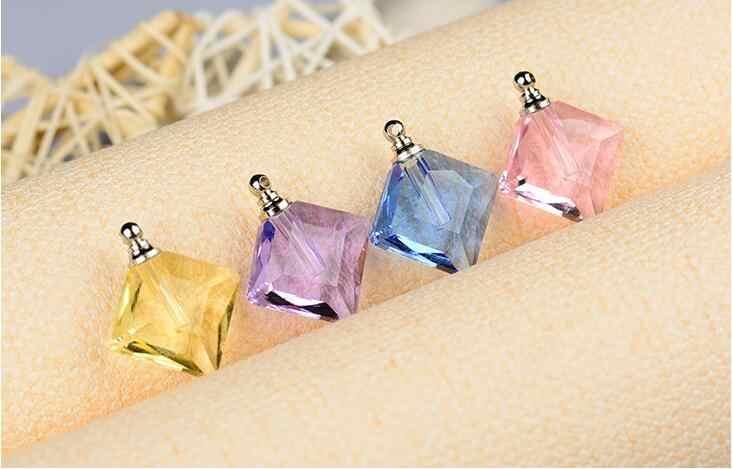 100pcs rhombus pendente di cristallo con tappo a vite fiala di vetro nome su riso fiale bottiglia di Profumo di olio con lo spazio di archiviazione bottiglia privato