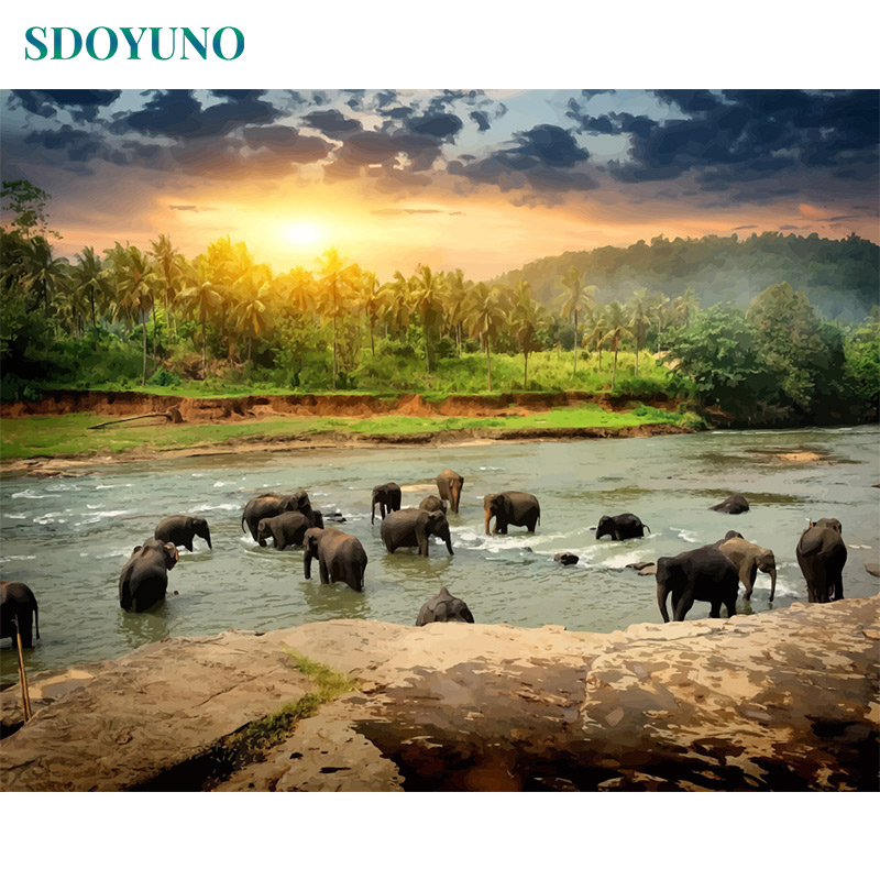 SDOYUNO 60X75cm  Painting By Numbers Acrylic Paint By Number Elephant Landscape Canvas Painting Kits Wall Art Frameless DIY