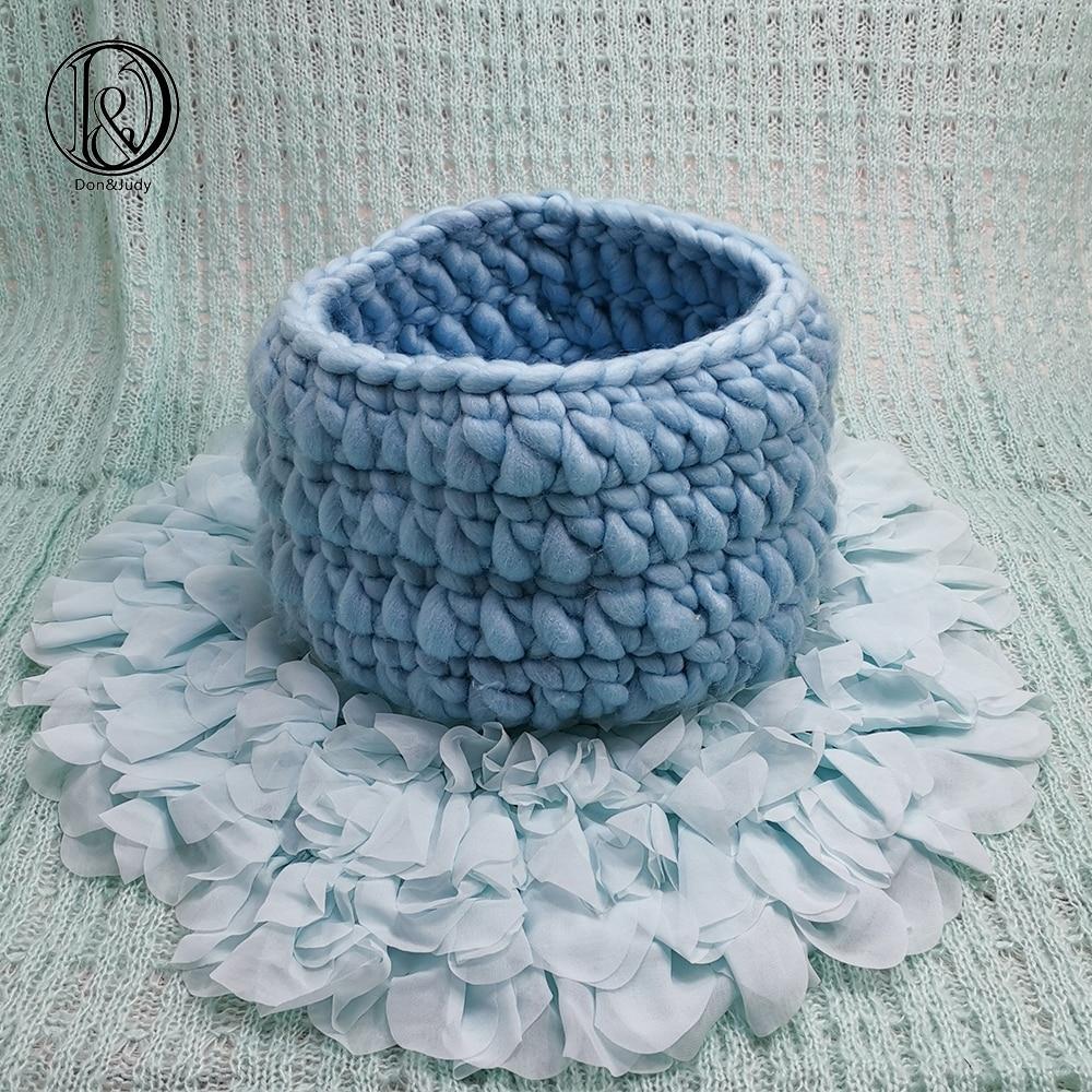 Don&Judy Soft Chiffon 50cm Blanket + Basketry +150x100cm Backdrop Set Photo Newborn Blanket Background For Photo Shoot Prop