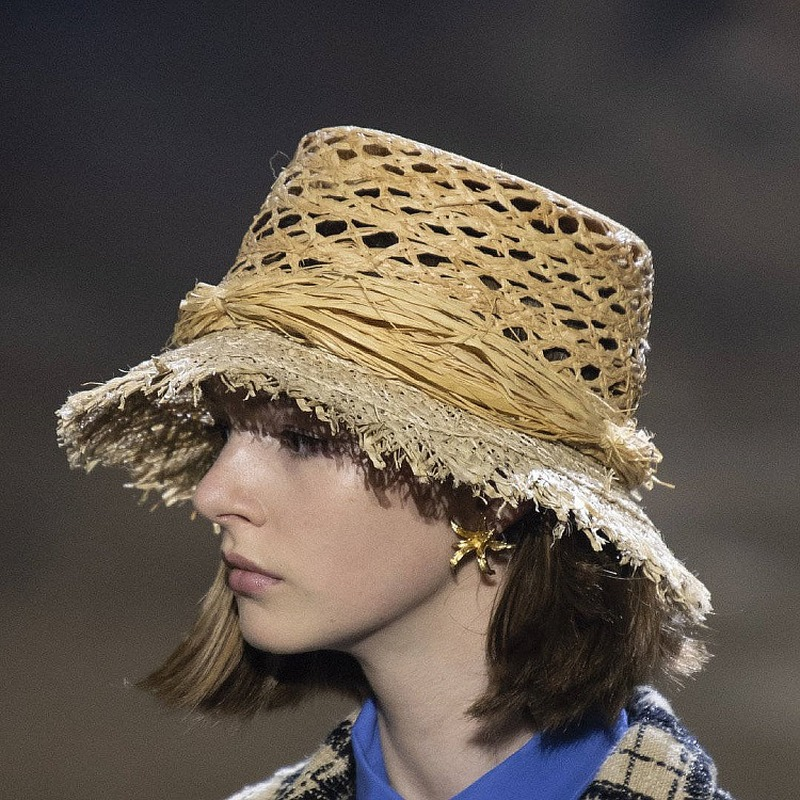 Hollow Out Retro Beach Fisherman Hat Basin Hat Fashion Straw Hat Fashion Tassel Woman Hat