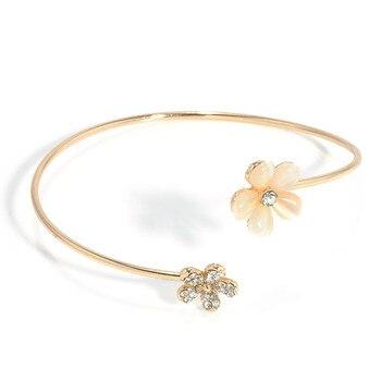 Women Girl Fashion Flower Opal Crystal Bracets Gold Color Cuff Hot Sale Bracelet Bangle Charm Jewelry Gift Fashion Jewelry 4