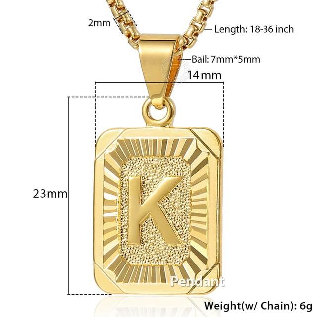 Initials Pendant Letter Name Necklace For Women Men Gold Silver Color Square Alphabet Charm Box Link Chain Couple Pendants GPM05 6
