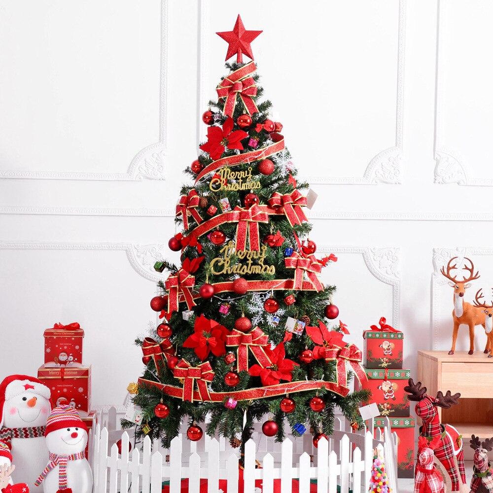 180cm de lujo sin luz grande árbol de Navidad conjunto lazos bola campana tarjeta cinta Hotel centro comercial decoración del hogar Navidad
