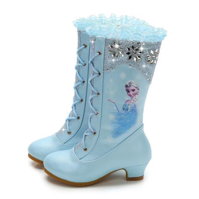 Новые кроссовки и изображением Эльзы для принцесс; розовые блестящие туфли для девочек; высокие сапоги для девочек на высоком каблуке; сезо...