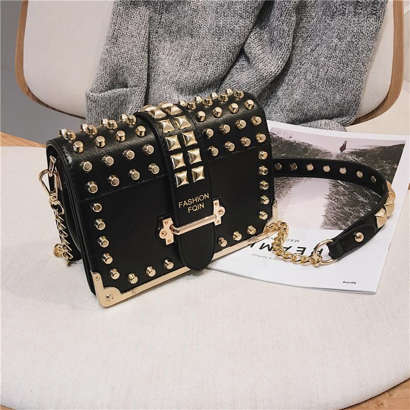 Luxury Rivet Bags for Women 2019 High Quality Vintage Leather Shoulder Bag Small Crossbody Bag Ladies Brand Chain Messenger Bag