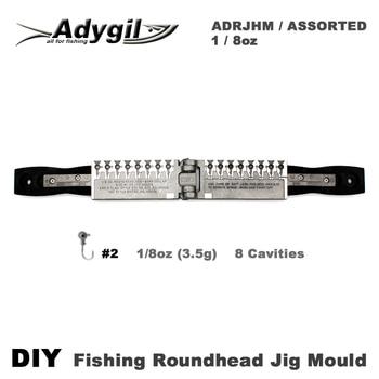 Adygil DIY Fishing Roundhead Jig Mould ADRJHM/ASSORTED COMBO 1/8oz(3.5g) 8 Cavities