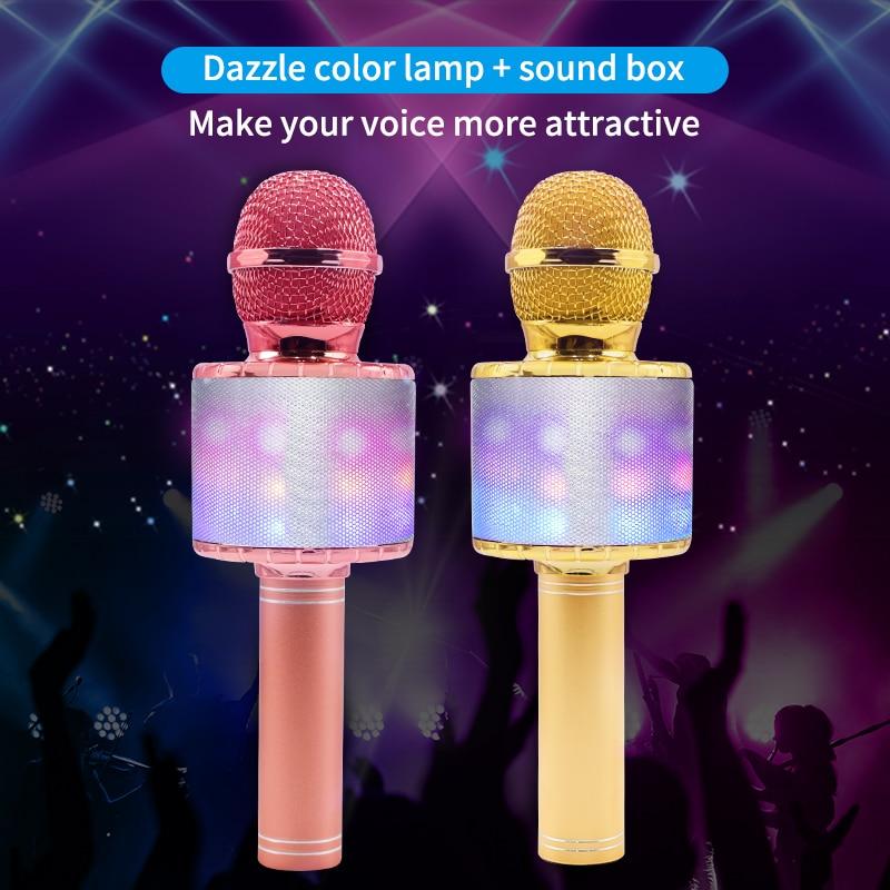СВЕТОДИОДНЫЙ беспроводной микрофон, профессиональный микрофон для караоке, bluetooth, студийный плеер для вокала, с рекордером, ручной микрофон...