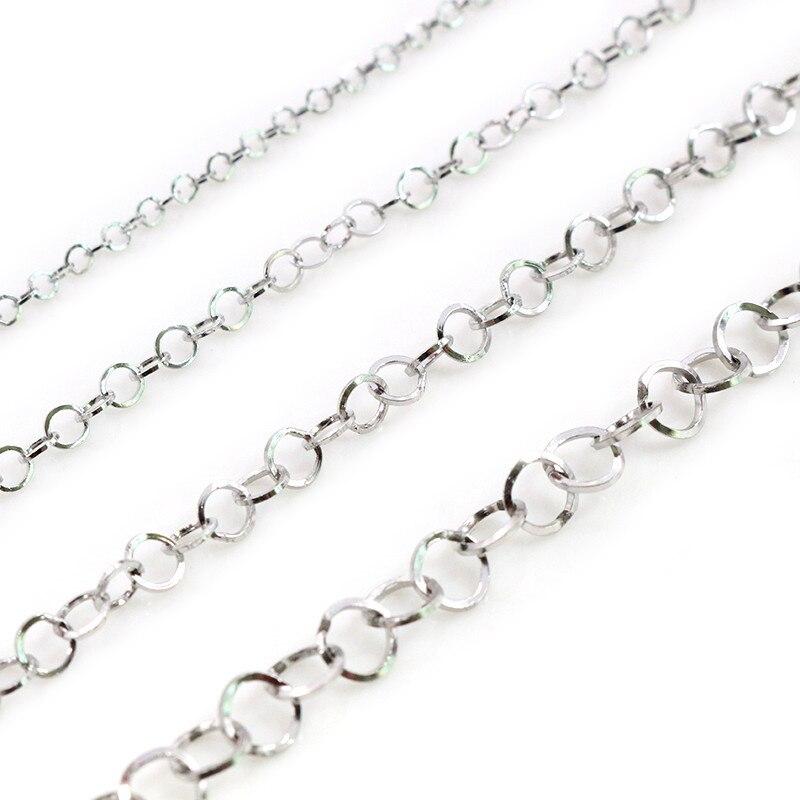5 metros/lote aço inoxidável colar de polimento o-ring chain para diy jóias descobertas que fazem materiais suprimentos artesanais