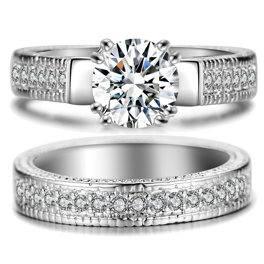 2pcs/lot Female Crystal White Round Ring Set Luxury White Gold Engagement Ring For Women Ladies Lover Party Wedding