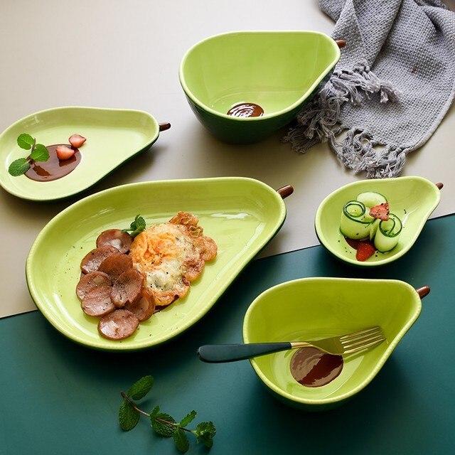 Фото креативная тарелка авокадо керамическая для завтрака миска супа цена