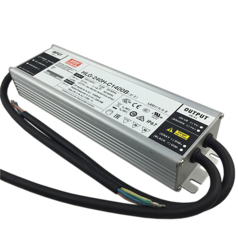 Original Taiwan Meanwell LED Driver Hlg-240h-c1400b  250W Dimmable Power Supply IP65 For 5pcs Cree Cxb3590/clu048 1212