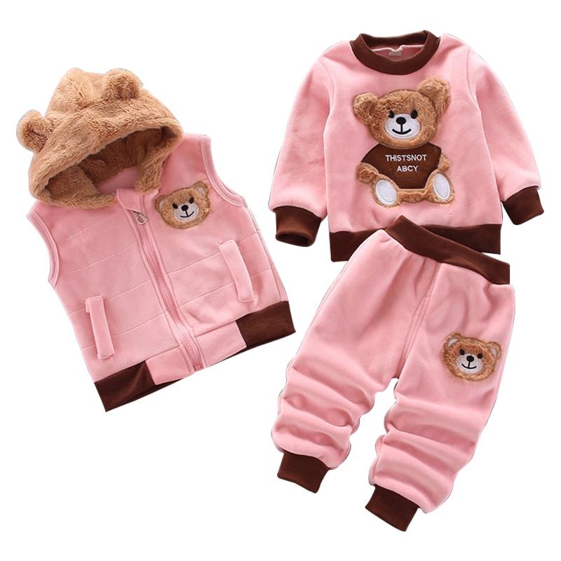 Одежда для маленьких мальчиков и девочек осенне-зимний теплый жилет из чистого хлопка свитер с капюшоном Детский костюм из трех предметов с...