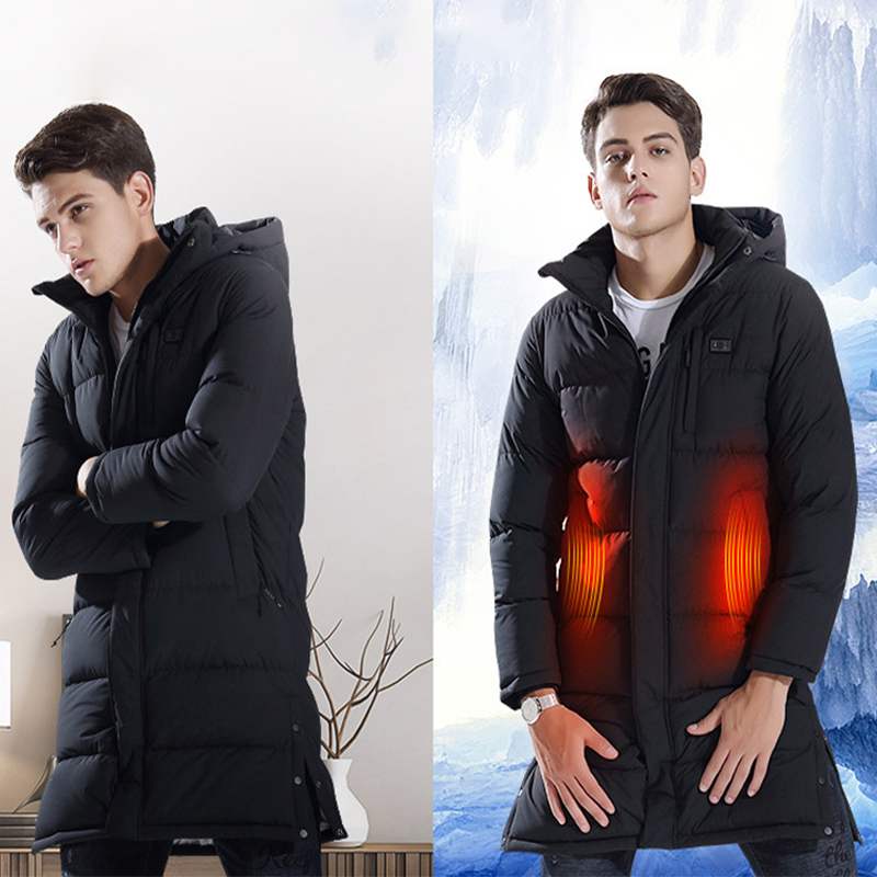 2019 New Arrival Long Section Heated Jackets Usb Heater Men Down Heating Coat Winter Warm Cotton Hooded Outdoors Windbreakers