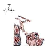 Single Rose Summer Women's Sandals Platform High Heels Ankle Strap Snake peep to