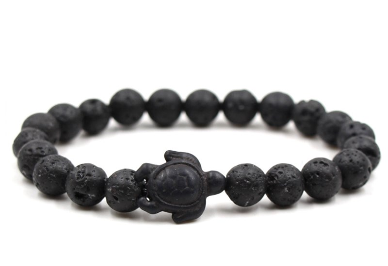 8mm eh2 black stone volcanic lava bead Bangles black turquoise tortoise Buddha Prayer Yoga Bracelet women men nature stone