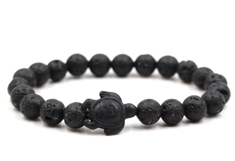 8mm eh2 black stone volcanic lava bead Bangles black turquoise tortoise Buddha Prayer Yoga Bracelet women men nature stone