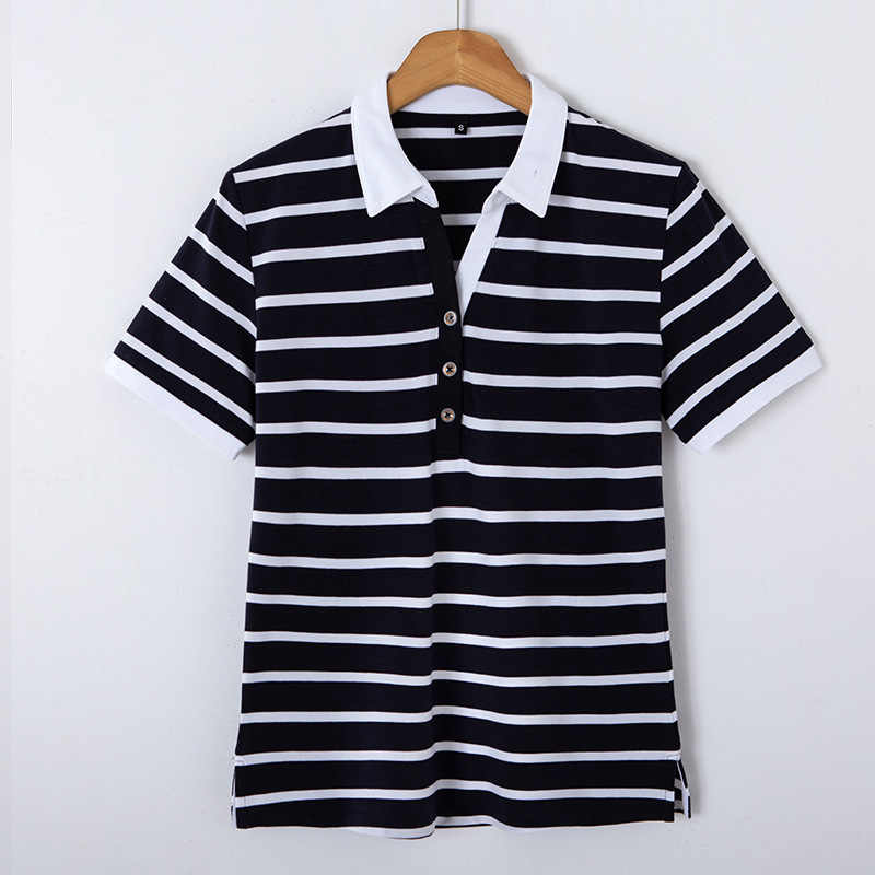 95% Cotton Golf Áo Sơ Mi Đen Trắng Đỏ Sơ Mi Sọc Phối Cổ Cho Nữ Để 3XL Plus Size Nữ Mùa Hè áo Công Sở Golf
