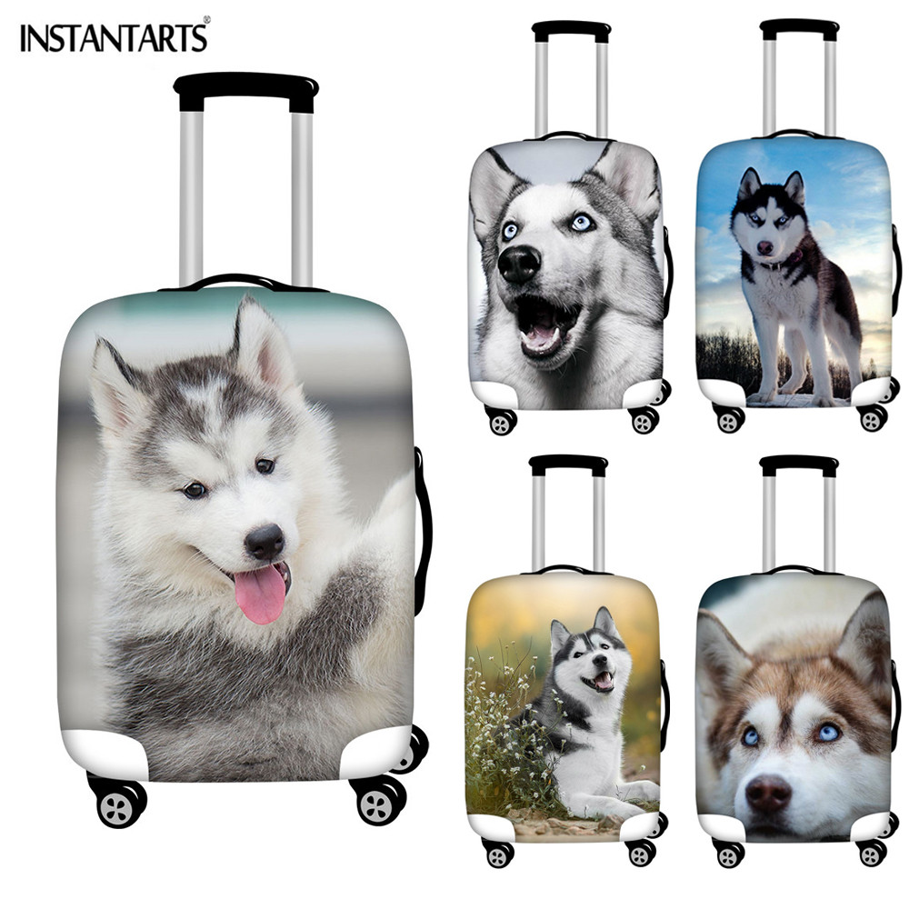 INSTANTARTS Luggage Covers Travel Case Siberian Husky Cute Gray White Dog Zipper Waterproof Elastic Suitcase Cover  18-30 Inch