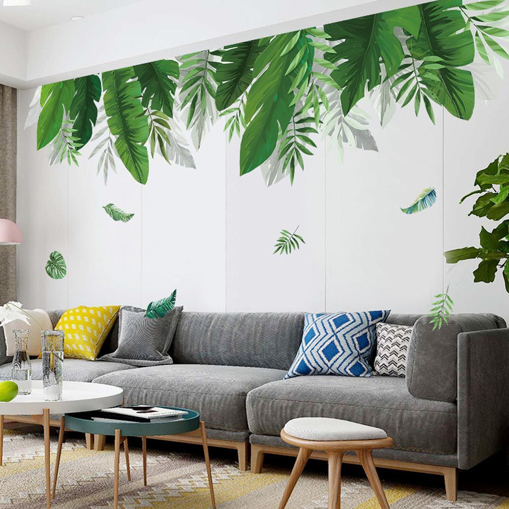 Настенные Стикеры с зелеными растениями, домашние настенные Стикеры с тропическим лесом и бамбуковыми листьями, Струйные настенные Стикер...