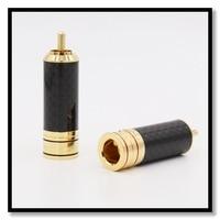 4 stücke Hohe qualität Kupfer Carbon fiber RCA Stecker Gold Überzogene Audio Video Adapter Stecker-in Stecker & Verbinder aus Verbraucherelektronik bei
