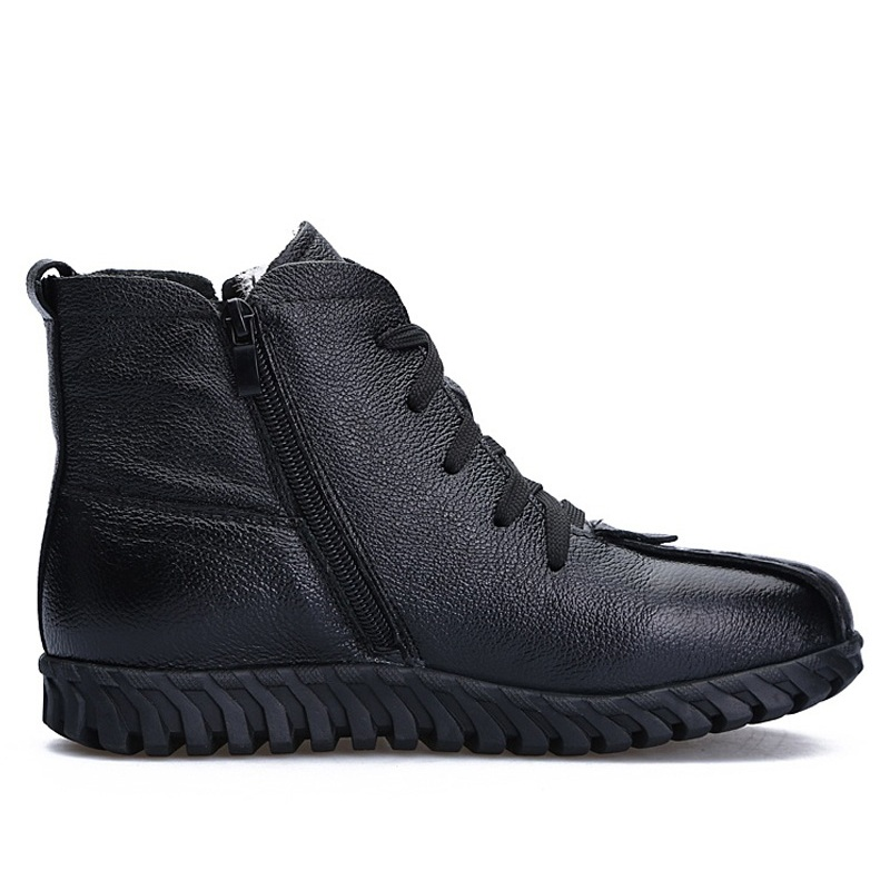 Image 3 - DRKANOL/2019 г.; женские зимние ботинки; зимняя теплая обувь; ботильоны для женщин из натуральной кожи на толстой шерсти; меховые ботинки на плоской подошве; женские ботинки-in Теплые сапоги from Обувь
