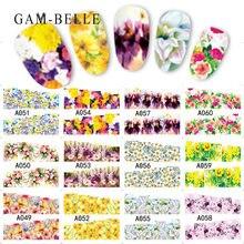 12 шт переводные наклейки для ногтей с цветами